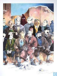 Affiches et posters - Bandes dessinées - VERKEERDE RUBRIEK --> STRIP-EXLIBRIS/PRENT Hommage à Hergé et Bilal: Photo de famille