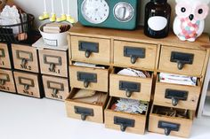 Craft storage idea. Love wooden boxes with drawers.