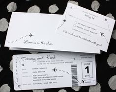 Black & White Clean & Simple Airplane Ticket Wedding Invitations