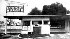 The first In-N-Out Burger opened in 1948 at the southwest corner of what is now the intersection of Interstate 10 & Francisquito Avenue in Baldwin Park. It was the first drive-thru hamburger stand in California. California History, Vintage California, California Dreamin', Alhambra California, California English, Vintage Diner, Vintage Restaurant, Vintage Stuff, Vintage Ads