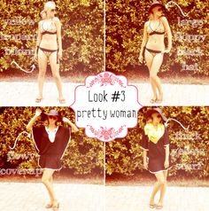 Summer Vacation Essentials. Look 3: Pretty Woman via Blonder Ambitions {www.blonderambitions.com}. fashion. style. bikini. black floppy hat. yellow scarf.