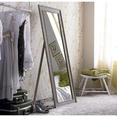 Miroir Lanwood blanchi, beige, l.40 x H.140 cm