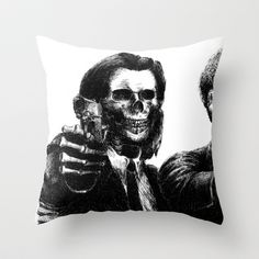 Pulp Fiction Throw Pillow by Motohiro NEZU - $20.00 Christmas 2014, Pulp Fiction, Macabre, Lovely Things, Number One, Skulls, Random Things, Creepy, Horror