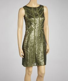 Look what I found on #zulily! Green Sequin Sheath Dress by Vince Camuto #zulilyfinds