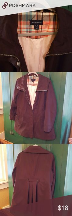 Lands End Lined Jacket sz 10-12 petite This is a very nice lined jacket great for spring or fall.  Water resistant, pleated back, smoke free home,  32 inches from top of collar to bottom hem. Brown with pink lining. Lands' End Jackets & Coats
