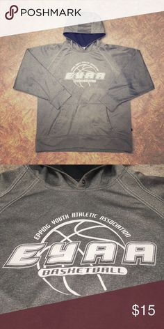 Hooded Sweatshirt Size large men's hoodie. Grey with NH youth sports affiliation logo. Good Condition. Very comfortable and warm! Open to negotiation so make an offer! Sweaters