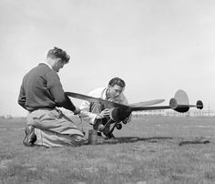 Oakland, California. High School Youth. Two boys with their model airplanes. Aviation to them is a romantic business.