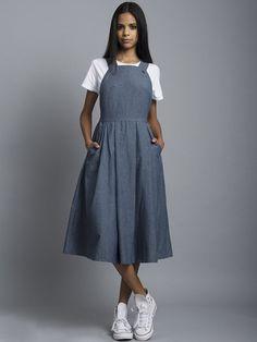 Denim Chambray Overall Dress