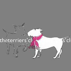 "Bull Terrier Art Print- ""A certain je ne sais quoi"" Terrier with scarf"