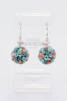 Silver pastel colour polymer clay round earrings with tiny