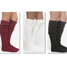 • Sale‼️ Thigh high socks  • Cable knit Thigh high socks. available in burgundy, cream, and black. Measures 26 inches from sole to height of sock. These are soft thick and oh so cozy!!! Keeping a pair for myself  Material-100% acrylic. Comment which color and I will create a separate listing. Other