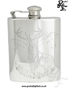 English Pewter Wild Animals hip Flask at The Pocket Hip Flask Company: