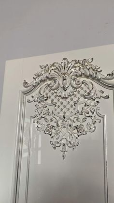 """Luxurious interior doors """"Versailles"""" with silver leaf. Finish: white enamel and gold potal. Baroque style oak door by Stavros. Wooden Front Door Design, Wooden Front Doors, Bedroom Door Design, Door Gate Design, Luxury Interior, Home Interior Design, Interior Doors, Modern Entrance Door, Carved Wood Wall Art"""