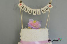 BLESSED Baby Gilr Boy Wedding Pink Shower Cake Topper Mini Bunting Banner