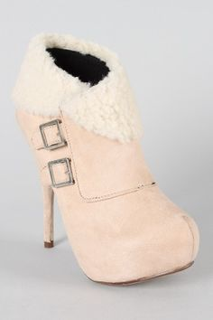 privileged ebony shearling ankle bootie