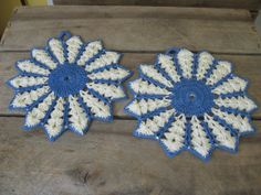 Crochet Pot Holders Coasters Hot Pads Blue and by MyVintageTable, $12.50