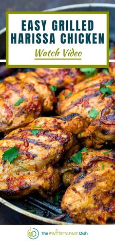 Ready to spice up your chicken dinner? This quick harissa chicken recipe is your ticket! Chicken thighs coated in harissa chile paste, garlic, onion and a few warm spices. Savory, smoky, with a little spice kick! Perfect summer meal for your entire family to enjoy! #harissachicken #chickenrecipes #summerrecipes Healthy Comfort Food, Healthy Meals For Kids, Easy Healthy Dinners, Garlic Recipes, Spinach Recipes, Egg Recipes, Dinner Recipes, Vegetarian Recipes Easy, Good Healthy Recipes