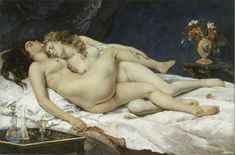 """쿠르베, """"잠"""", 1866년, 프티 팔레 미술관.    레즈비언 커플을 그린 그림으로, 그 주제의 특성상 충격적인 그림이다.     19세기 프랑스 문학에서 레즈비언 주제는 종종 다루어졌다. 하지만 그림의 경우에는 동일 주제를 다룬 것을 접하기가 쉽지가 않다. 두 여인은 나체로 서로를 껴안고 잠들어 있다. 두 다리가 교차된 모습이 지극히 외설적이다. 검은 머리의 여성 모델의 경우 허리 쪽 군살이 접힌 모습이 그대로 드러나 있으며, 탄력없이 처진 엉덩이도 여실없이 묘사되어 있다. 이 두 모델의 추한 부분은 이상화되지 않고 몹시 사실적으로 그려져있다."""