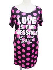 Polka Dot Long T-Shirt Pink / See more at http://www.cdjapan.co.jp/apparel/superlovers.html #harajuku