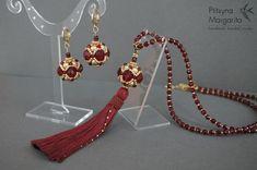 Beaded set - sautoir and earrings - with Swarovski pearls, glass beads and japanese seed beads. Beadweaving beadwork beaded pendant earrings