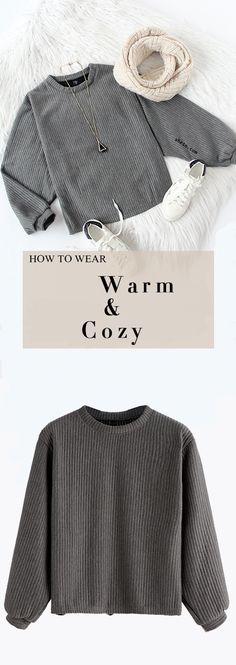 Warm & stylish ribbed sweater look for autumn. More colors with $12.99 at shein.com.
