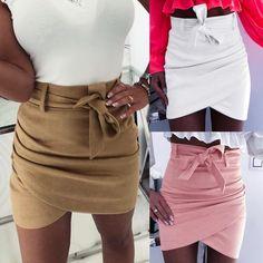 Asymmetric sashes skirts women Bodycon Autumn skirts 2019 New Sexy streetwear High waist Bandage short skirts femme Mini Skirt Dress, Sexy Skirt, Mini Skirts, Short Skirts, Mini Dresses, Ball Dresses, Fancy Dress, Pencil Skirt Outfits, Pencil Skirts