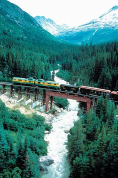 White Pass & Yukon Route Railroad offers scenic train excursions from Skagway, Alaska or Fraser B. or Carcross, Yukon. Beautiful rude hope to do it again Places To Travel, Places To See, Travel Destinations, U Bahn Station, Alaska The Last Frontier, Scenic Train Rides, Trains, Amazing Places On Earth, Beautiful Places