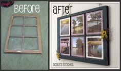 Distressed Window Frame Picture Frame... how they choose to hang it
