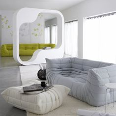 Furniture, Marvelous Bright White Gray Color Modern Style Toga Sofa Design For Living Room: Incredible Togo Sofa Collection to Beautify Your Drawing Roo Living Room Modern, Rugs In Living Room, Living Room Interior, Living Room Designs, Living Room Decor, Ligne Roset, Sofa Design, Interior Design, Sofa Furniture