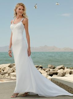 Shoulder Straps Slim line Chiffon Wedding Dresses (ST0191)