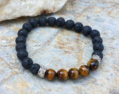 Mens Bracelet Lava Stone and Tiger Eye Bracelet Gifts for Him Energy Bracelet Healing Jewelry Gemstone Bracelet Mens Yoga Mala Jewelry