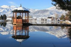 Johnson Mill pond and gazebo in winter, Midway, UT  by  D Cloyd