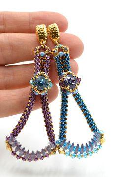 Asymmertical orecchini orecchini di turchese viola