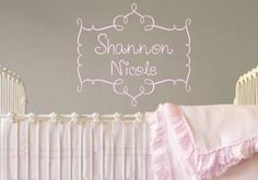 "$33.00-$68.00 Baby Personalized Vinyl Wall Decal Sticker Custom Name in Beautiful Flourish Frame Boutique Nursery Custom - This beautiful custom name decal is surrounded by a beautiful swirly frame! A perfect size for over a bed, crib or the door to a room.    Total Decal Size Approximately: 24"" wide x 22"" tall    Please Note the Following In the ""Message to Seller"" at checkout:    1- Name (please che ..."