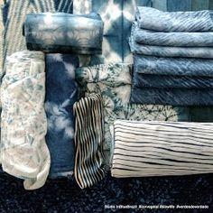 """""""CASA CLAUDIA - JUNHO/17"""". """"...vida e cor a tecidos utilizando técnicas artesanais de tingimento e estamparia..."""" Bjkas azuis!! Aconchegue-se!!"""