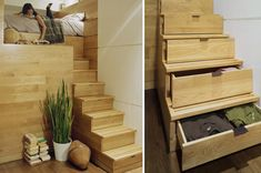 Small Space Living: Staircase Storage - At Home with Kim Vallee Stair Shelves, Staircase Storage, Stair Storage, Stair Drawers, Hidden Storage, Bedroom Drawers, Bed Storage, Bedroom Storage, Extra Storage