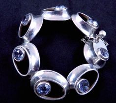 Bracelet | Antonio Pineda Sterling Silver and Blue Spinel.  ca. 1955, Taxco