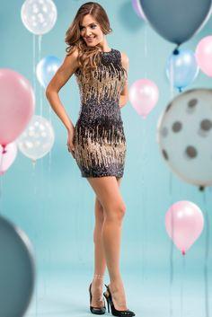 İroni Gold Renk Payetli Mini Elbise