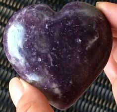 131g RARE LEPIDOLITE POLISHED CRYSTAL GEMSTONE HEART (6.2cm)  | eBay