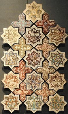 Image LOU 087, Louvre, Paris exhibit featuring decorated area, showing Geometric Pattern and Floriated Arabesque using ceramic tiles, mosaic or pottery.