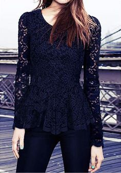 Lace Scalloped Black - Chic Lace Top Blouse
