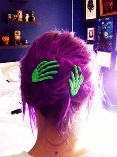 purple hair, hair colors, halloween hair, hair clips, hands, green, zombi, skeletons, hair accessories