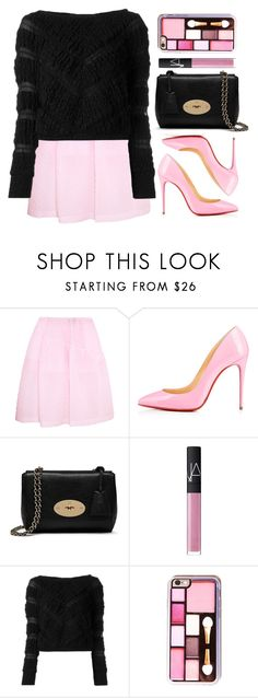 """""""Black & Pink"""" by wolfiexo ❤ liked on Polyvore featuring Simone Rocha, Christian Louboutin, Mulberry, NARS Cosmetics and Jay Ahr"""