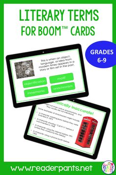 This Boom card deck for Literary Terms is perfect for middle school English teachers and librarians. Great for distance learning and self-directed activities for online teaching. Literary Terms, Literary Elements, Student Login, Student Work, Middle School English, English Teachers, School Librarian, Card Deck, Librarians