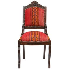 Antique Eastlake Chair in Eastern African Fabric   From a unique collection of antique and modern chairs at https://www.1stdibs.com/furniture/seating/chairs/