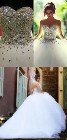 bling bling crystal and pearl beaded sweetheart ball gown wedding dresses 2018