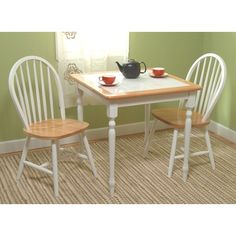 TMS TMS 3 Piece Tile-Top Dining Set in White and Natural Finish