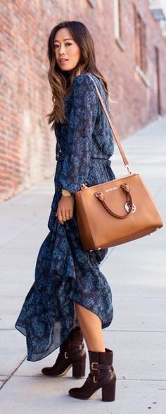 #boho #fashion #spring #outfitideas |Blue And Black Floral Boho Maxi Dress