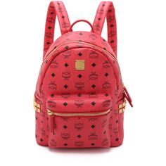 MCM Side Stud Small Stark Backpack ($665) ❤ liked on Polyvore featuring bags, backpacks, mcm, mochila, red, logo backpacks, knapsack, zip top backpack, red bag and monogrammed bags