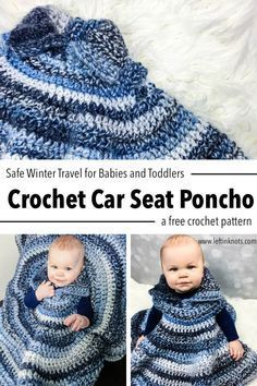 Use this free crochet pattern and super bulky yarn to make a car seat poncho for the cold winter days! Keep baby safe in her car seat AND keep her warm with this wearable blanket that fits over the straps so there are no bulky jackets to worry about. Crochet Baby Poncho, Crochet Car, Crochet Baby Blanket Beginner, Manta Crochet, Crochet Bebe, Crochet Baby Clothes, Crochet For Kids, Crochet Shawl, Easy Crochet